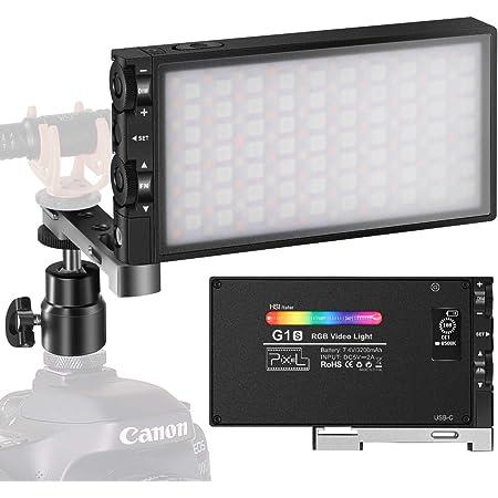 Pixel G1S RGB LED ビデオライト 撮影用ライト 撮影照明ライト2500K-8500K CRI 97+ 360°フルカラー USB-C充電式 小型 軽量 超薄型LEDライト 生放送、YouTube、商品撮影、ビデオ撮影、動画撮影に適用 日本語マニュアル付き