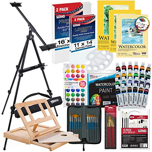 US Art Supply 70-Piece Watercolor Paint Set with Aluminum Easel, Wood Table Easel, 24 Watercolor Paint Colors, 3 - Watercolor Paper Pads, Brushes, Watercolor Cakes, 10-Well Painting Pallete
