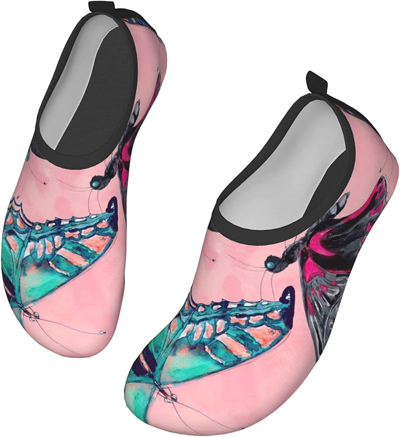 Fasso Hawaiian Tropical Jungle Colorful Watercolor Womens and Mens Water Shoes Barefoot Quick-Dry Aqua Socks Slip-On for Outdoor Beach Swim Yoga