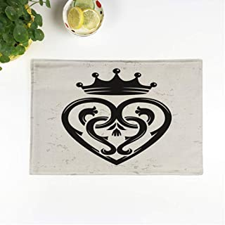 rouihot Set of 6 Placemats Luckenbooth Brooch Vintage Scottish Heart Shape Crown Symbol Valentine 12.5x17 Inch Non-Slip Washable Place Mats for Dinner Parties Decor Kitchen Table