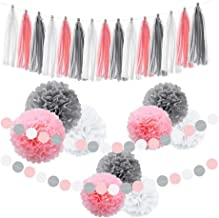 Tissue Paper Pom Poms Pink Flowers Paper Ball and Tissue Paper Tassel for Birthday Parties, Wedding Décor, Fiesta or Mexican Party