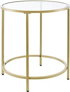 Table d'Appoint pour Salon Table Ronde Design Bouts de Canapé de Salon Plateau en Verre Pieds en Acier 50 x 55 cm Doré