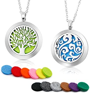 RoyAroma 2PCS Aromatherapy Essential Oil Diffuser Necklace Two Patterns Pendant Locket Jewelry,23.6