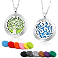 RoyAroma 2PCS Aromatherapy Essential Oil Diffuser Necklace Two Patterns Pendant Locket...
