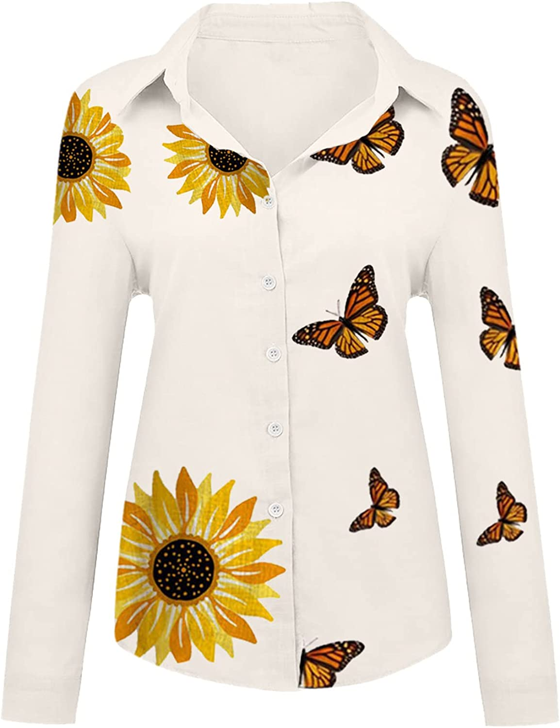 Fashion Shirts for Women's Loose Butterfly Printed Solid Color Cotton Linen Buttons Lapel Long Sleeves Blouse Tops