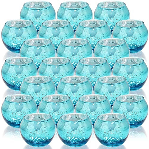 SHMILMH Round Blue Votive Candle Holders, Set of 24 Mercury Glass Tealight Candle Holders , Tea Candle Holder Bulk with Speckled for Table Centerpiece, Wedding Decoration, Party, and Home Decor