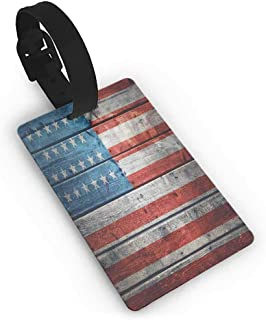 Travel luggage tag,Rustic American USA Flag,July Independence Day Weathered Antique Wooden Looking National Celebration Image,Multicolor One Size Straps Suitcase