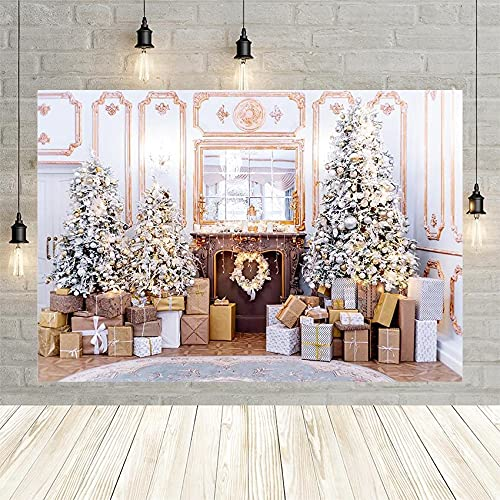 Guirnalda de Regalo Chimenea Luz de Pared Blanca Decoración de árbol de Navidad Fondo fotográfico Fondo de Estudio Personalizado Bebé Niño Real Vinyl-250x180cm