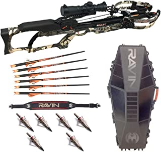 Ravin Crossbows R10 Predator Camo Crossbow with R182 Hard Case, Shoulder Sling, and Hunting Broadheads Bundle