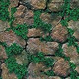 Univocean 3D Modern Stone Green Plant Wallpaper, Wall Poster, Wall Sticker, PVC Self
