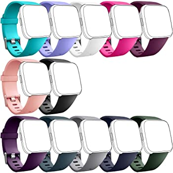 Hamile Replacement Bands (12 Pack) Compatible for Fitbit Versa/Versa 2/Lite/SE, Classic Soft Watch Band Straps Wristbands for Fitbit Versa/Lite & Special Edition Smartwatch, for Women Men, Large