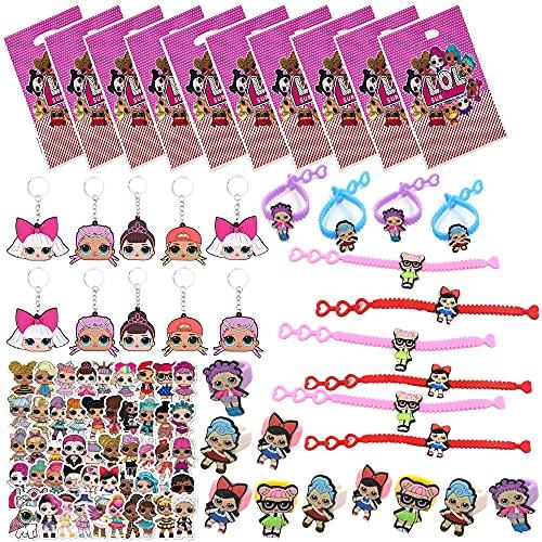 LOL - Kit de suministros para fiestas de cumpleaños para niñas y niños, incluye 10 pulseras, 10 anillos, 10 bolsas de regalo, 10 llaveros, 50 pegatinas para recompensas en el aula