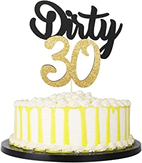 PALASASA Black Gold Glitter Dirty 30 Cake Topper , Thirty Sign , Happy 30th Birthday Party Decorations (Black)