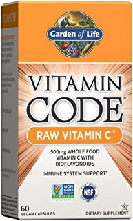 Garden of Life Vitamin Code Raw Vitamin C - 60 Capsules, 500mg Whole Food Vitamin C, Fruit & Veggie Blend, Probiotics, Vit...