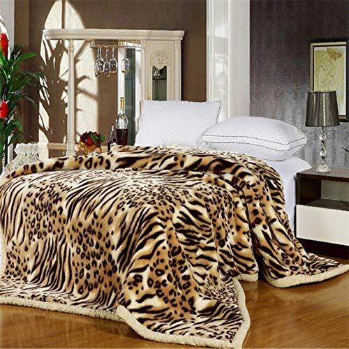 LIUZIXIN Coperta Invernale Calda con Stampa Animalier Letto Matrimoniale Double Queen Coperta Morbida Spessa Extra Large 180X220 cm 2,5 kg Leopardo