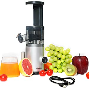 Blamdoil Compact Slow Juicer,USB Rechargeable Masticating Extractor,Cold Press Juicer for Nutrient Fruits and Vegetables,Small Juicer BPA-Free,Easy to Clean,Quiet Motor,Reverse Function (Silver USB)