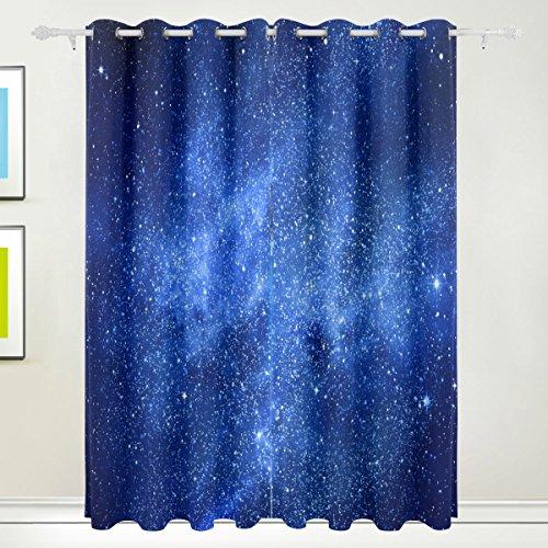 MyDaily – Thermo-Isolierte Verdunklungsvorhänge für Wohnzimmer/Schlafzimmer, 2 Vorhang-Bahnen, Motiv: Blaue Sternen-Galaxie und Nebel, 139,7 x 213,4 cm