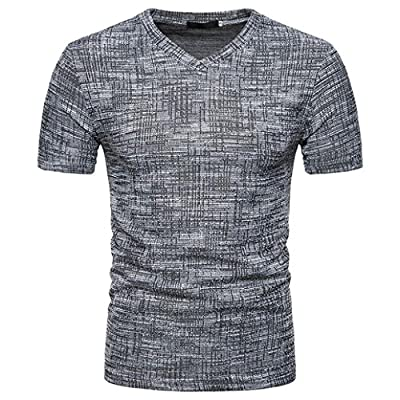 GREFER Men's Summer Casual V Neck Pullover T-Shirt Top Blouse