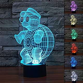 3D Illusion LED Night Light,7 Colors Gradual Changing Touch Switch USB Table Lamp for Holiday Gifts or Home Decorations (Turtle)
