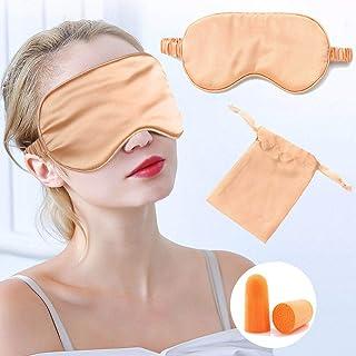 IYOU Máscara de Seda Mujer Dormir Seda Morera Satinada Opaca Viajes Siesta Meditación Máscara Ojos Tapón para la Oreja par...