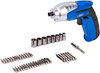 FORD Compact Cordless Electric Rechargeable Screwdriver with 44 Free Bits Set, 3.6V 1500Mah Lithium Ion, FE1-60-B, Blue