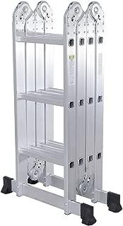 Senrob Multi-Purpose Aluminum Ladder,12.5 FT Telescopic Folding Extendable Step Scaffold Ladder with 2 Platform Plates-Max Weight 330lbs