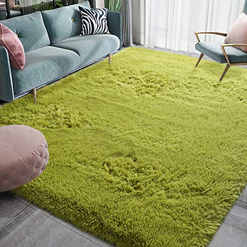 Homore Luxury Fluffy Area Rug Modern Shag Rugs for Bedroom Living Room, Super Soft and Comfy Carpet, Cute Carpets for Kids Nursery Girls Home, 4x5.9 Feet Green
