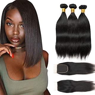 Bex Straight Hair Bundles 10 12 14 with 8 inch Closure - 100% Unprocessed Brazilian Human Hair Weave Soft 10A Grade Straight Bundles with Closure-Natural Black Color (ST 10 12 14 + 8)