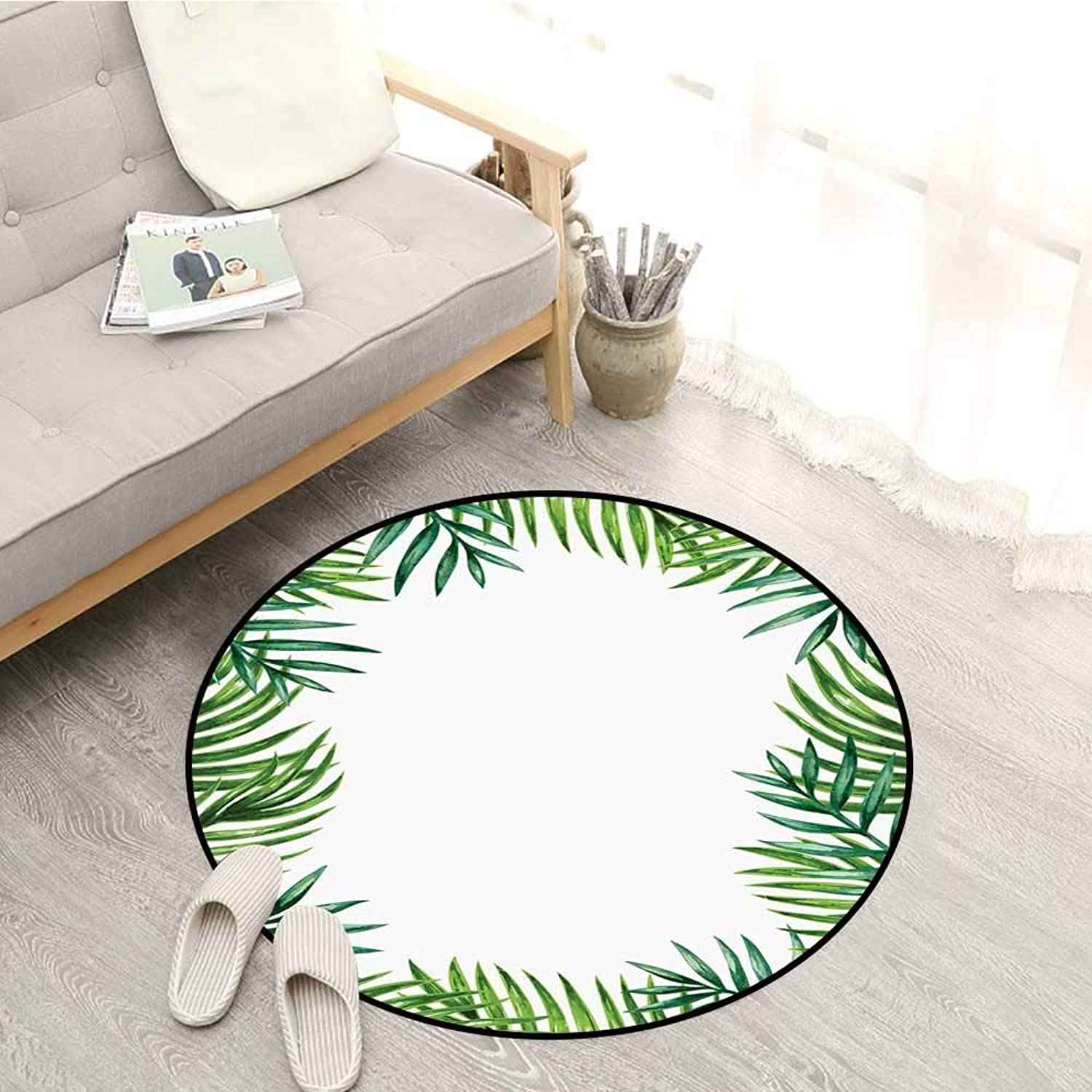 Green Leaf Skid-Resistant Rugs Frame with Fresh Leaves Botanical Natural Artwork Environment Forest Sofa Coffee Table Mat 4'11  Jade Green Lime Green