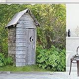 ABAKUHAUS Toilettenhäuschen Duschvorhang, Bauernhof Cottage Wald, mit 12 Ringe Set Wasserdicht Stielvoll Modern Farbfest & Schimmel Resistent, 175x200 cm, Farngrün & Hellgrau