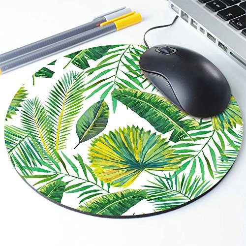 Green Palm Leaves on The White Background Round Mouse pad Customized Non Slip Rubber Round Mouse pad Non Slip Rubber Mouse pad Gaming Mouse Pad Photo #5