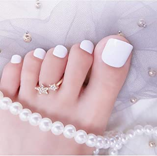 Sethexy Solid Color Glossy False Toe Nails Bright Fashion Square Short Full Cover 24PCS Fake ToeNails for Women and Girls(White)