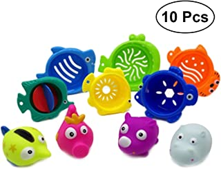 NUOLUX 10pcs Baby Bath Toys Sea Animal Stacking Squeeze Sound Bath Toys for Toddlers and Kids (4Pcs Animal Figures and 6pcs Cup Toys)