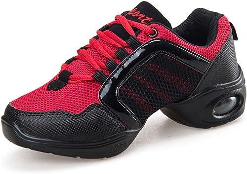 YAN zapatos de mujer de Malla Transpirable zapatos de Baile Aumentar los zapatos de Baile de Fondo Suave Jazz Moderno Calle zapatos de Baile,B,35