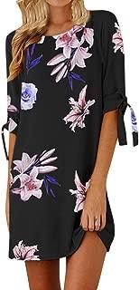 KYLEON Womens Boho Floral Print Short Sleeve A Line Mini Short Dress Summer Casual Beach Top Tunic T Shirts Sundress