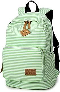 GLJ Canvas Backpack College Wind Stripe Fashion Backpack Student Bag Backpack (Color : Green)