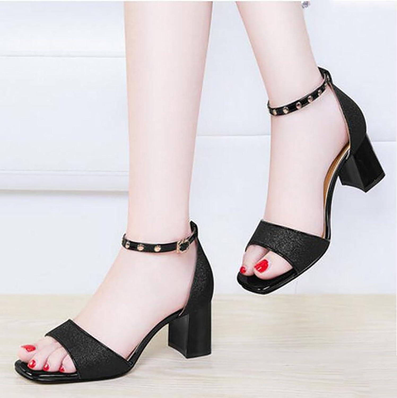 Sandalen Frau dick mit Sommer Schuhe Wilde koreanische High Heel Sandaletten Flache Sandalen,Mode Sandalen (Farbe   A, Größe   38)