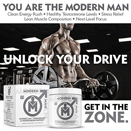 Modern Man V3 - Testosterone Booster + Thermogenic Fat Burner for Men, Boost Focus, Energy & Alpha Drive - Anabolic Weight Loss Supplement & Lean Muscle Builder | Lose Belly Fat - 60 Pills 6