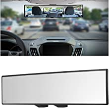 12 Large Anti Glare Rear View Mirror with Suction Cup Stick on Universal Frameless Inside Rearview Blue Mirror with Parabolic Wide Angle Mounted on Windshield for Car Marine Auto Boat Truck SUV Van