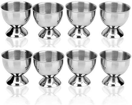 Preisvergleich für Leisial Edelstahl Eierbecher Metall Eierbecher Halter Eierbecher Set 4.5*4.5CM (8)