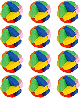 Kicko Puzzle Ball Eraser - Pack of 12 Assorted Round Colored Rubik's Cube - Jigsaw, Novelty Toys, Educational Tool, Mind Game, Perfect for School Supplies, Party Stuffers