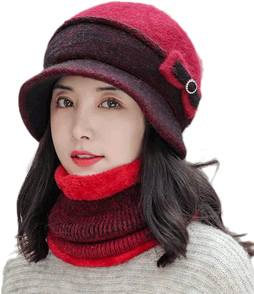 Women Two Pieces Fleece Lined Beanie Knit Hat Winter Scarf Set Warm Bucket Hats Earmuffs Cap