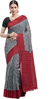 Monira Women's Linen Cotton Traditional Printed Saree with Blouse Piece (MONNB3075D, Grey and Red)