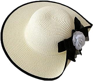 Uesae Capeline Floppy Chapeau Et/é Panama en Paille Vague Bord Chapeau Femme Porkpie Casquette Visi/ère de Soleil Decoration de Noeud Fleur pour Voyage Excursion Promenade Plage