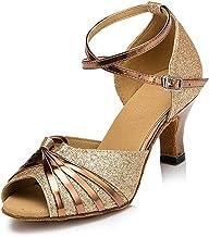 Womens Latin Salsa Dance Shoes Sparkling Glitter Heels Open Toe Practice Performance Dancing Sandals Ballroom Wedding Part...