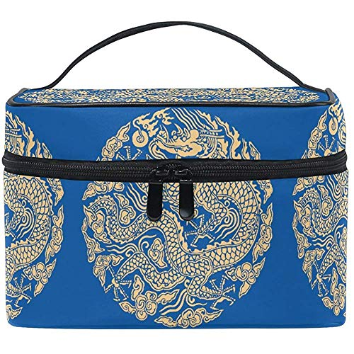 Trousse de Maquillage Golden Dragon Travel Cosmetic Bags Organizer Train Case Toiletry Make Up