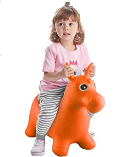 Bouncy Horse for Toddlers, Baby Bouncer Rocking, Bouncing Hopper Animals, Kids/Infant Riding Sit and Spin Toys Girl Boy, Inflatable Farm Hopping/Hoppity Hop Balls (Orange)