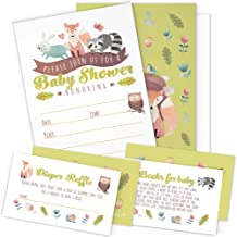 A Set of 25 Woodland Animals Baby Shower Invitations, Diaper Raffle Tickets and Baby Shower Book Request Cards with Envelo...