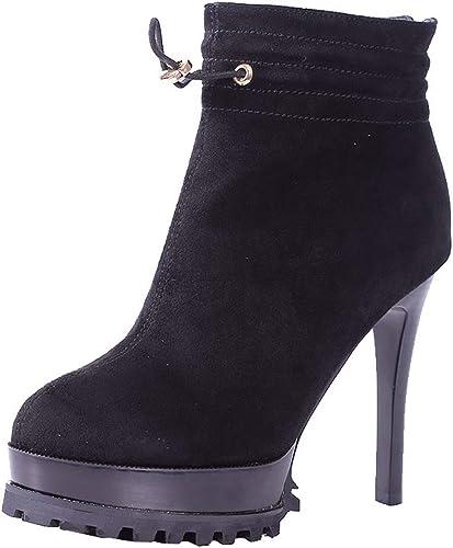 HBDLH Chaussures Chaussures Femmes La Mode Sexy Hiver 12 Cm De Talon des Bottes Imperméables Nu Tête Ronde Bien des Talons Ordinateur Portable Chaussures Martin Bottes  à vendre