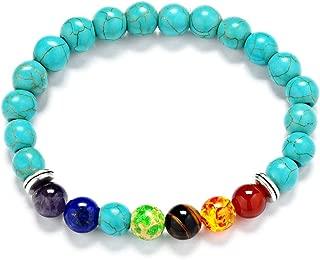 Reizteko Men Women 8mm Lava Rock 7 Chakra Diffuser Bracelet Elastic Natural Stone Yoga Beads Bracelet Bangle (Turquoise)